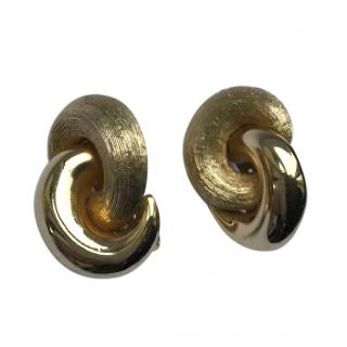 Christian Dior Vintage Gold Plated Twisted Earrings