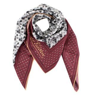 Louis Vuitton White/Burgundy Printed Silk Floral Scarf