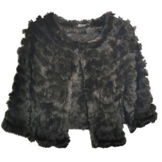 BCBG MaxAzria Rabbit Fur Brown Cape