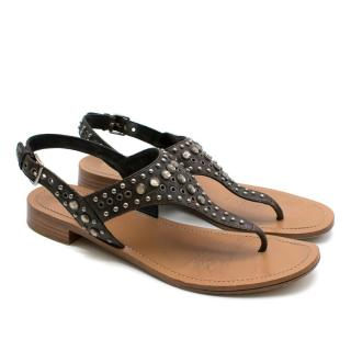 Prada Brown Studded Thong Sandals