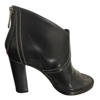 Brunello Cucinelli Black Peep-Toe Booties