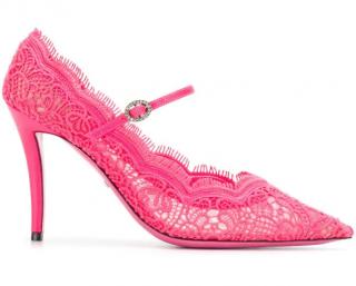 Gucci Pink Virginia Lace Pumps
