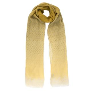 Loro Piana Yellow Ombre Embroidered Cashmere & Silk Blend Scarf