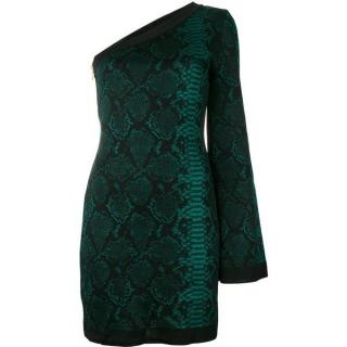 Balmain Green python-jacquard dress