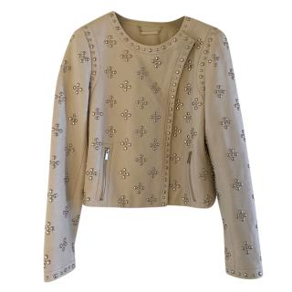 Dian Von Furstenberg Grey Studded Asymmetric Leather Jacket