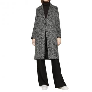 Maje Grey Wool Blend Single Breasted Coat