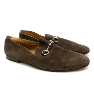 Gucci Brown Suede Soft Loafers