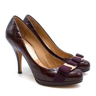 Salvatore Ferragamo Sharla Quilted Patent Platform Heels