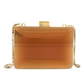 Salvatore Ferragamo Gold Tone Amber Clutch On Chain