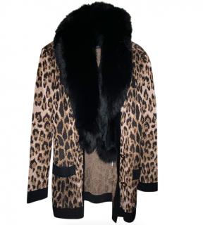 Balmain Leopard Print Cardigan W/ Detachable Fox Fur Collar