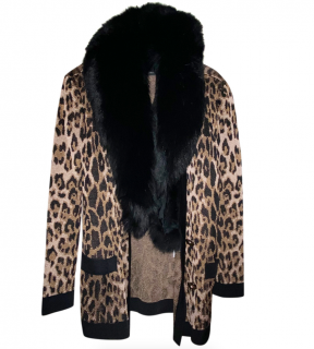 Balmain Leopard Print Cardigan W/ Detachable Fox Fur Collar