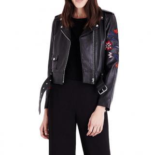 Sandro Paris Pattie Embroidered Leather Jacket