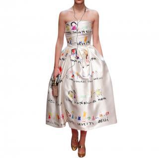 Dolce & Gabbana Drawing Print Draped Bodice Cocktail Dress