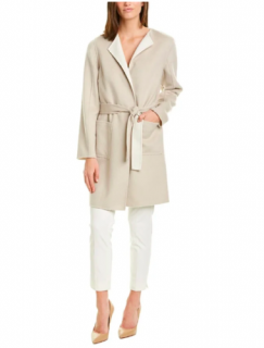 St John reversible wool, angora & cashmere blend wrap coat