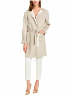 St John reversible wool, angora & cashmere blend wrap coat