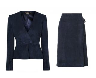 Adam Lippes Midnight Blue Suede Peplum Jacket & Midi Skirt