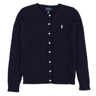 Polo Ralph Lauren Yr12 Navy Cable-Knit Cotton Cardigan