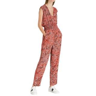 Maje Leopard Print Red V-Neck Jumpsuit