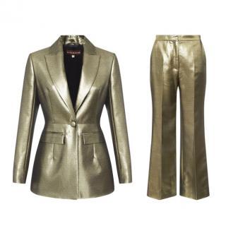 Alexa Chung Metallic Gold Suit