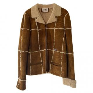 Chanel Brown Suede Shearling Jacket