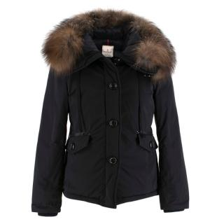 Moncler Black Down Jacket with Fox Fur Hood