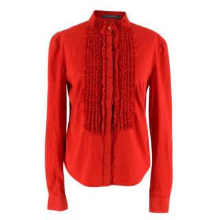 Alexander McQueen Red Ruffled Shirt