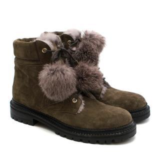 Jimmy Choo Elba Flat Mink Suede Boots With Fur Pom Pom