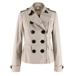 Burberry Brit Beige Cropped Asymmetric Trench Coat