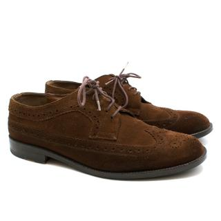 George Hogg Italian Brown Suede Flat Brouges