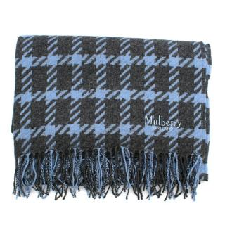 Mulberry Grey & Blue Large Houndstooth Shawl
