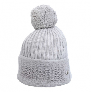 Chanel Grey Cashmere Embroidered Ribbed Knit Pom Pom Hat