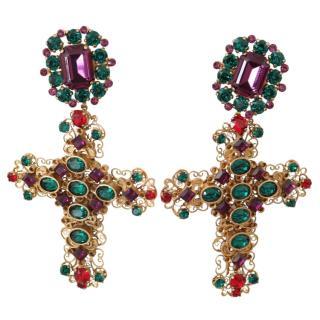 Dolce & Gabbana Crystal Sicily Cross Drop Earrings