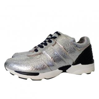 Chanel Silver Metallic Cracked Leather Sneakers