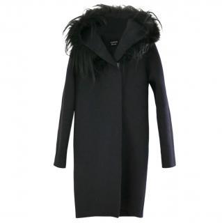 Lanvin Fox & Goat Fur Trim Wool Blend Coat