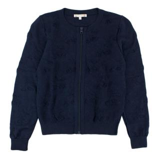 Bonpoint Navy 12Y Zip Up Cardigan
