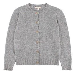 Bonpoint Yr12 Grey Cashmere Button Up Cardigan