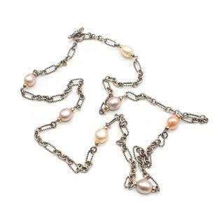 David Yurman Gold & Silver Faux Pearl Necklace