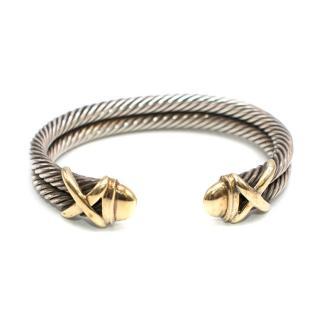 David Yurman 14 Karat Gold Sterling Silver Double Row Cable Cuff