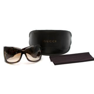 Gucci Brown Tortoiseshell Oversize Sunglasses