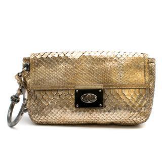 Lanvin Gold Python Leather Wristlet Clutch