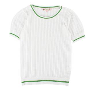 Bonpoint Yr12 White Glitter Detail Knit Top