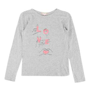 Bonpoint Yr10 Grey Long Sleeve Love Top