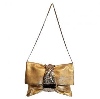 Jimmy Choo Gold Leather Chandra Clutch on Chain