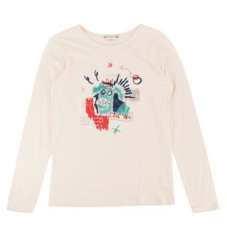 Bonpoint Yr12 Cream Long Sleeve Cool Dog T-Shirt