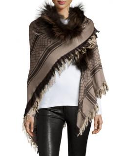 Gucci Monogram Wool & Silk Shawl W/ Fox Fur Trim
