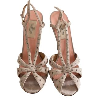 Valentino Crystal Studded Suede Sandals