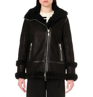 DROMe Shearling Black Biker Jacket