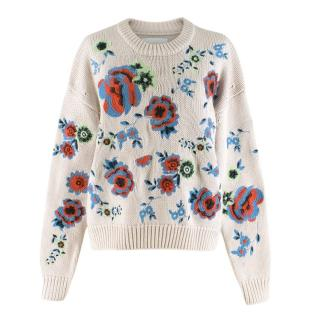 Samsoe & Samsoe Beige Floral Embroidered Jumper