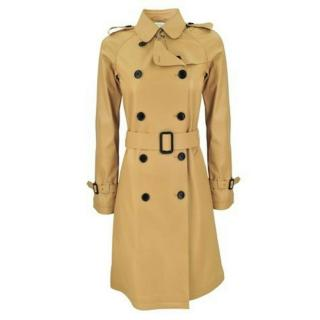Gerard Darel Soft Camel Sheepskin Leather Belted Trench Coat