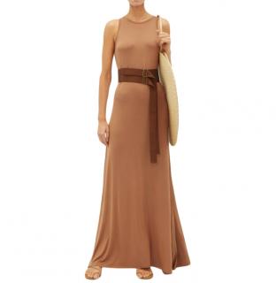 Albus Lumen Brown Sleeveless Belted Maxi Zara Dress